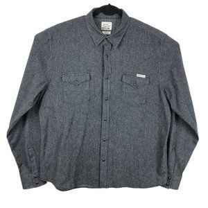 Lucky Brand Western Shirt Solid Gray Pearl Snap XL